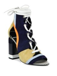 Pierre Hardy Colorblock Suede Lace Up Booties Multi Navy
