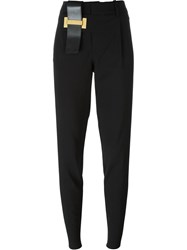 Anthony Vaccarello Buckle Detail Pleated High Waist Tapered Trousers Black