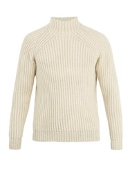 De Bonne Facture High Neck Ribbed Knit Wool Sweater Cream