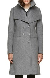 Soia And Kyo Double Collar Slim Fit Wool Coat Ash
