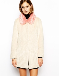 Unreal Fur Candy Blossom Coat With Contrast Collar Creampink