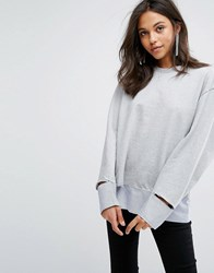 Evidnt Disconnected Hem Top Grey