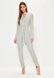 Missguided Grey Long Sleeve Belted Tuxedo Jumpsuit