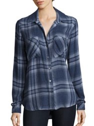 Bella Dahl Long Sleeve Plaid Shirt Beacon Blue