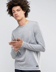 Only And Sons Knitted Jumper With Rolled Neck Hem Mid Grey Melange