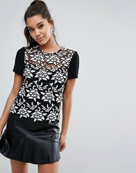 Lipsy Heavy Lace T Shirt With Contrast Sleeve Black White