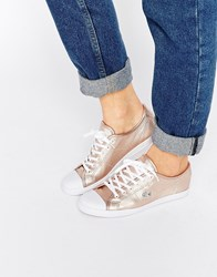 Lacoste Ziane 116 Rose Gold Lace Up Plimsoll Trainers Gold