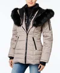 Wildflower Hooded Faux Fur Trim Puffer Coat Only At Macy's Dove Grey