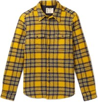 Aspesi Checked Virgin Wool Overshirt Yellow