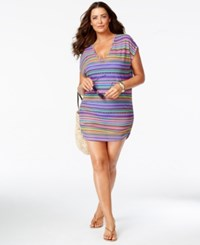 Anne Cole Plus Size Multi Stripe V Neck Cover Up Women's Swimsuit