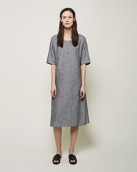La Garconne Moderne Linen Sleep Dress Black Yarn Dye