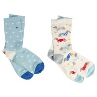 Fat Face Dogs In Jumpers And Hearts Print Ankle Socks Pack Of 2 Natural Duck Egg