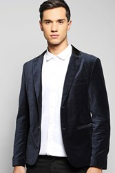 Boohoo Single Breasted Velvet Blazer With Satin Collar Navy