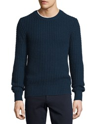 Vince Chunky Wool Cashmere Blend Crewneck Sweater Navy