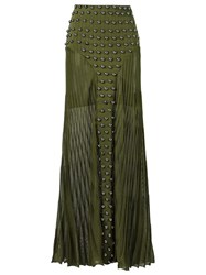 Andrea Bogosian Long Knitted Skirt Green