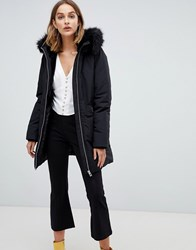 Stradivarius Parka Jacket With Fur Hood Black