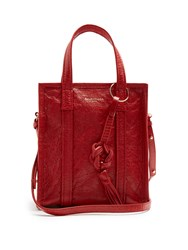 Balenciaga Bazar Mini Leather Tote Red