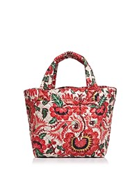 M Z Wallace Mz Metro Floral Print Small Tote Tulum Oxford Red Silver