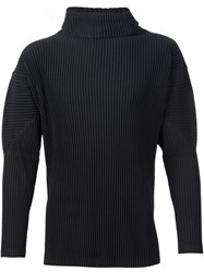 Homme Plisse Issey Miyake Ribbed Roll Neck T Shirt Black