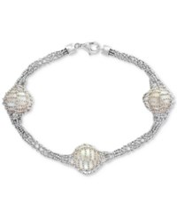 Effy Final Call By Cultured Freshwater Pearl 12Mm Caged Bracelet In Sterling Silver White