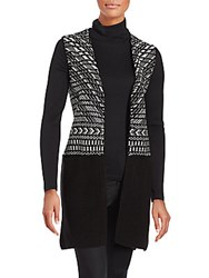 1.State Sleeveless Jacquard Open Front Sweater Rich Black