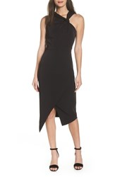 Harlyn Twist Front Asymmetrical Cocktail Dress Black
