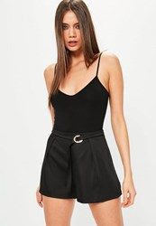 Missguided Black Buckle Detail Pleated Satin Shorts