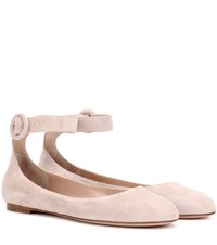 Gianvito Rossi Exclusive To Mytheresa.Com Virna Flat Suede Ballerinas Pink