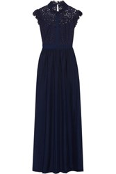 Rachel Zoe Jeanne Corded Lace Paneled Silk And Crepe De Chine Gown Navy