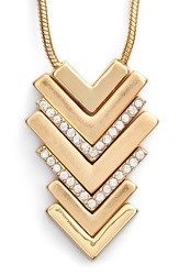 Lonna Lilly Chevron Pendant Necklace Gold Cry