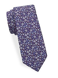 Saks Fifth Avenue Floral Print Silk Tie Blue Pink