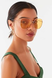 Urban Outfitters Gloria Oversized Metal Round Sunglasses Rose