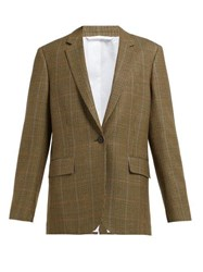 Calvin Klein 205W39nyc Houndstooth Single Breasted Wool Blazer Beige