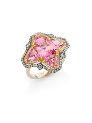 Ivy Diamond And Pink Spinel Quatrefoil Ring