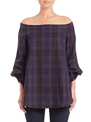 Tibi Plaid Off The Shoulder Tunic Grey Multi