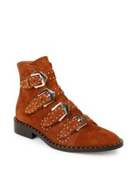 Givenchy Elegant Studded Suede Booties Caramel Brown