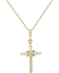 Macy's Cubic Zirconia Cross Necklace In 10K Gold