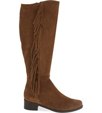 Karen Millen Fringed Suede Knee High Boots Tan