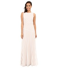 Donna Morgan Gigi Boat Neck Striped Sequin Gown Ivory Nude Women's Dress Khaki