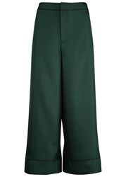 Mcq By Alexander Mcqueen Green Cropped Satin Trousers