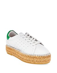 Steve Madden Pace Lace Up Leather Sneakers White Green