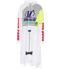 Vetements Cotton Jersey Hoodie Dress White