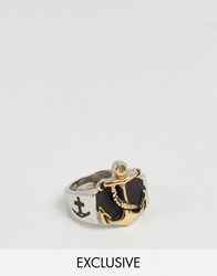 Reclaimed Vintage Chunky Anchor Ring Silver Gold