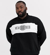 New Look Plus Collared Mcm Sweat In Black