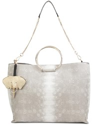 Christian Siriano Snakeskin Effect Tote Grey