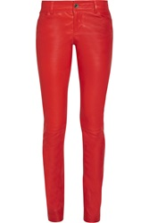 Alice Olivia Stretch Leather Skinny Pants Red