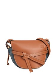 Loewe Gate Small Color Block Leather Bag Tan Steel Blue