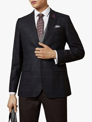 Ted Baker Dega Check Blazer Dark Blue