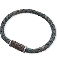 Seven London Single Plait Leather Bangle Blue