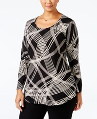 Jm Collection Plus Size Printed Scoop Neck Swing Top Only At Macy's Black Ribbon Plaid